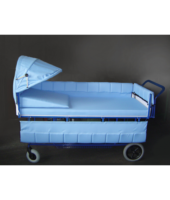 INDIVIDUALLY ADJUSTABLE PRAM TO TRANSPORT LYING PATIENTS